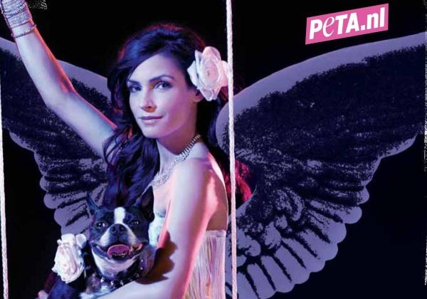 Famke Janssen is een 'Engel voor Dieren' in nieuwe sexy reclame
