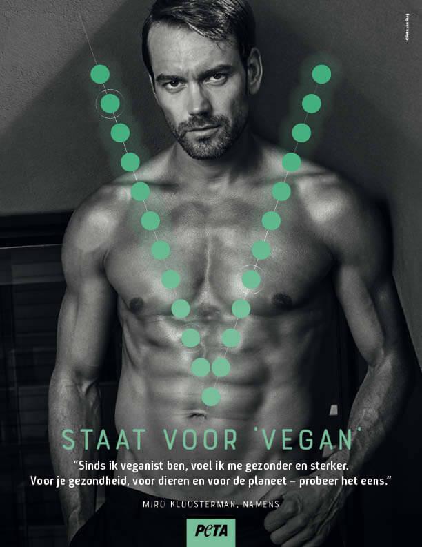 Miro Kloosterman showt zijn door planten gevoede lichaam in nieuwe PETA-advertentie